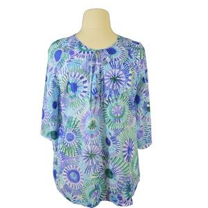 Fashion Bug Blue/White Print Tunic Blouse Size 0X